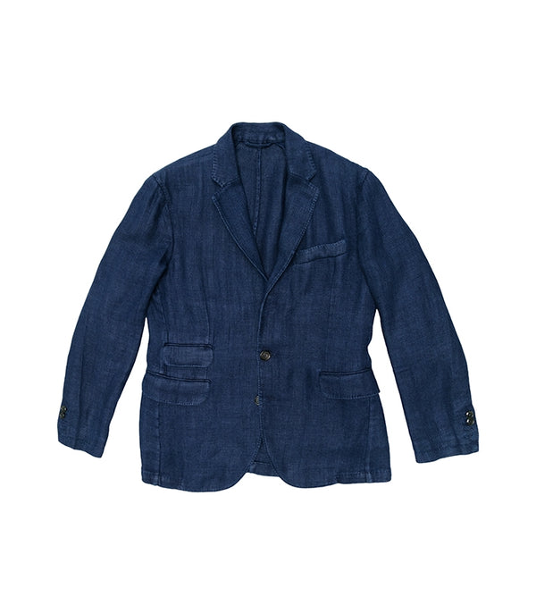 Navy Herringbone Linnen Kennedy Jacket, Man1924