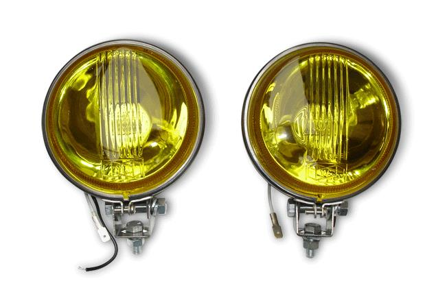 Yellow Spot Light 11cm Flat Backed - Stainless Steel - Pair