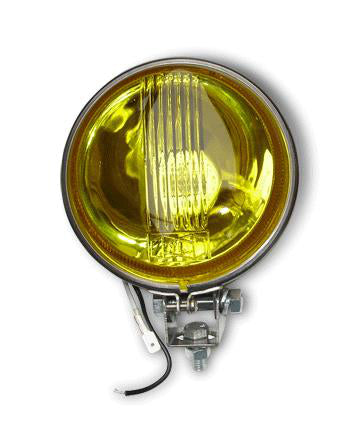 Vespa Lambretta Scooter Yellow Spot Light 11cm Flat Backed - Stainless Steel