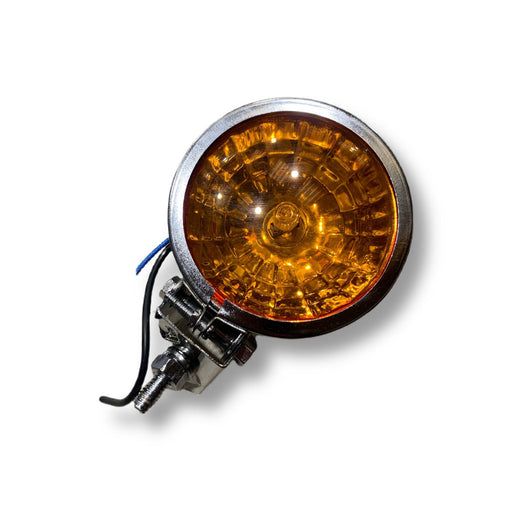 Vespa Lambretta Scooter Chrome Spotlight Spot Light - Orange Amber Honeycomb Lens 95mm