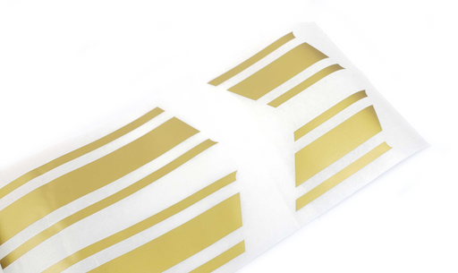 Universal Panel Sticker Straight Stripes Pair 630x110mm Gold