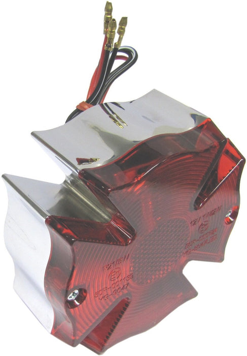 Taillight Complete Fire Maltese Cross Red Lens with S+T Bulb