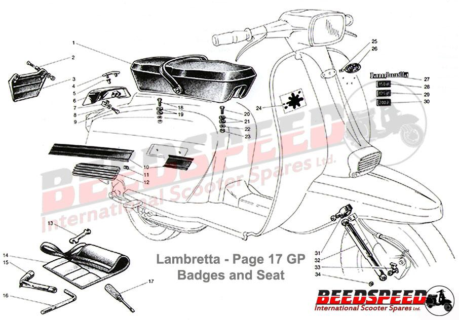 Lambretta - Side Panel Grills - GP - Black Plastic