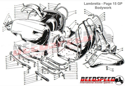 Lambretta - Side Panel Holding Spring Clip - GP - Pair
