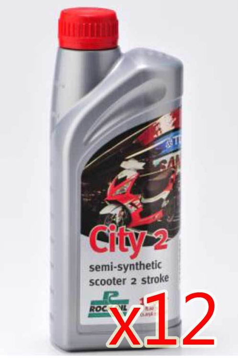 Oil - Rock Oil - 2Stroke City2 Semi Synthetic - 1 Litre - Box/12 Pack