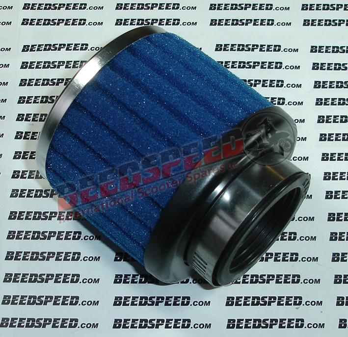 Air Filter - Ribbed Sponge - 42mm - Straight - Blue