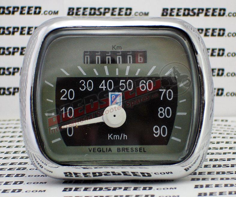 Vespa - Speedometer - VM/VN/VL/ACMA - 90KMH - Grey/Black Face - Piaggio Shield