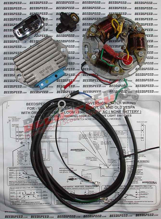 Vespa - Stator Plate - Super/Sprint/VBB - 12 Volt Lighting Conversion Kit, Full