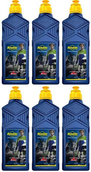 Oil - Putoline - MX5 Fully Synthetic Two Stroke - Pre Mix - 1 Litre - 6 Pack