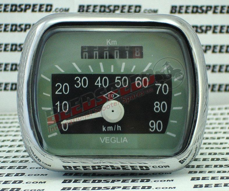Vespa - Speedometer - VM/VN/VL/ACMA - 90KMH - Grey/Black Face - ED Diamond