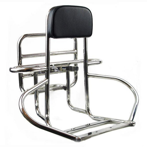 Backrest And Carrier - 4 In 1 (Rear) - Vespa - Polished Stainless - PX/PE/T5