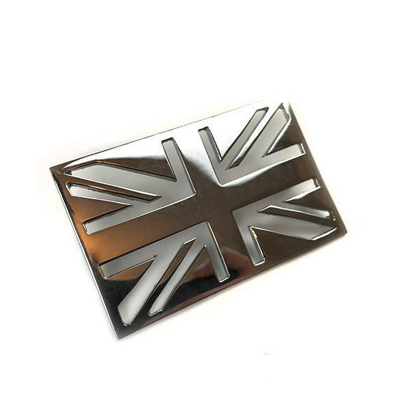 Badge - Leg shield - Union Jack - Chrome