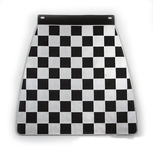 Universal Pressed Chequered Type Mudflap Silver & Black