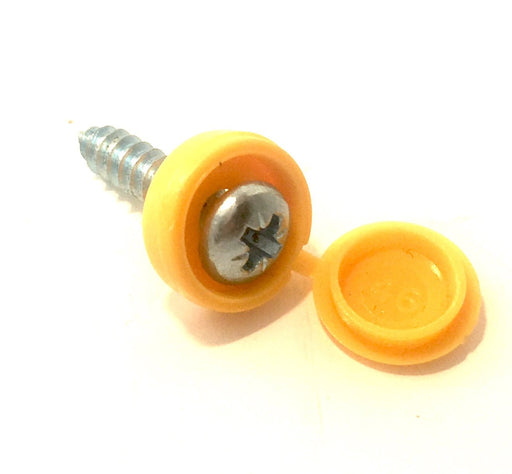 Fastener - Number Plate Screw And Cap - Self Tapper - Yellow