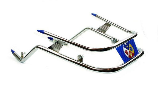Vespa PX PE T5 Chrome Front Bumper Bar - Blue Trim