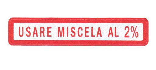 Sticker - Oil Mixture 2% - 55mm x 10mm - Red/Silver - In Italian