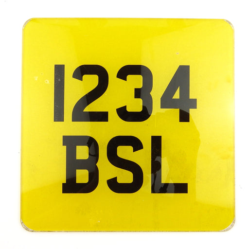 Numberplate - Motorcycle - Yellow And Black - 6.5x6.5inch