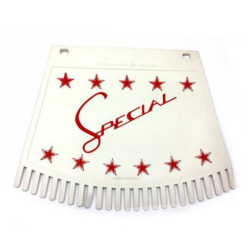 Special & Stars Tasseled Type Mudflap Red On White