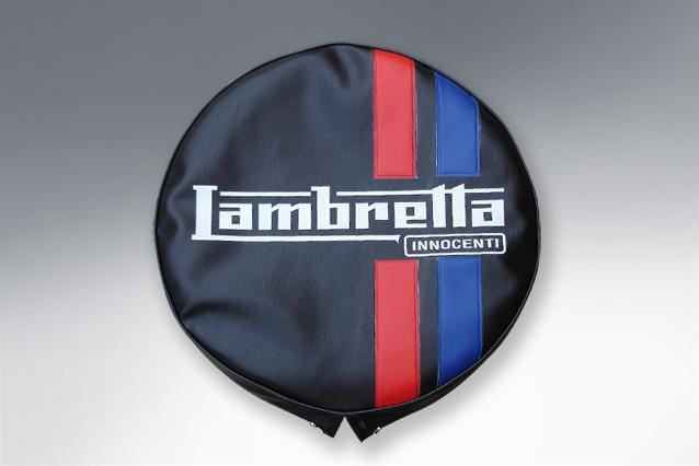 "Wheel - Spare Wheel Cover 10"" - Lambretta Logo And Stripes - Made To Order"