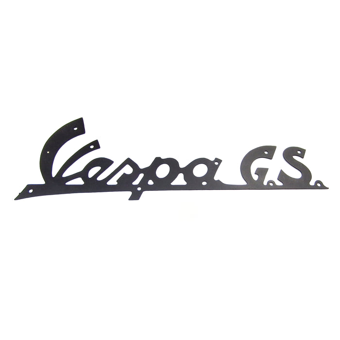 Vespa - Badge - Leg Shield - Vespa GS Thin Metal Black Badge - 142mm Long