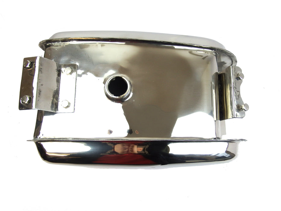 Lambretta Long Range 17 litre petrol tank with built-in toolbox - Polished Stainless Steel