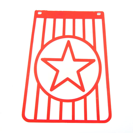 Long Star Red On White Mudflap