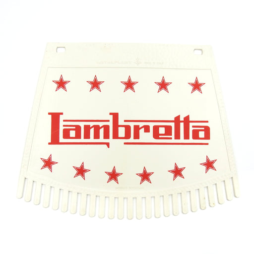 Lambretta & Stars Tasseled Type Mudflap Red On White