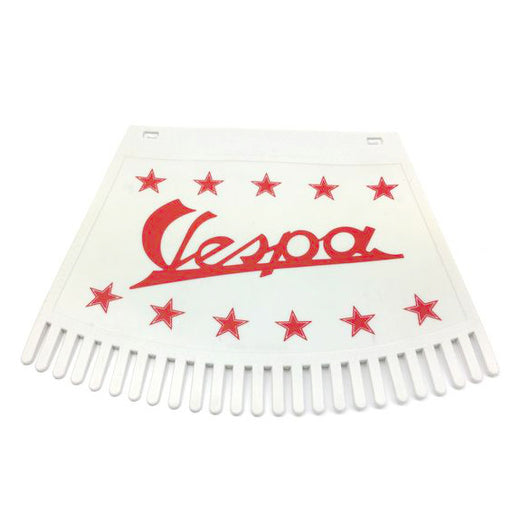 Mudflap - Tasseled Type - Vespa And Stars - Red On White