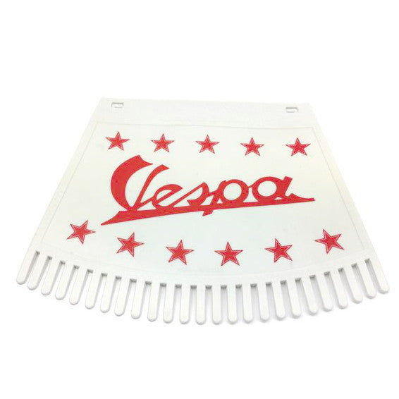 Vespa And Stars Tasseled Type Mudflap Red On White