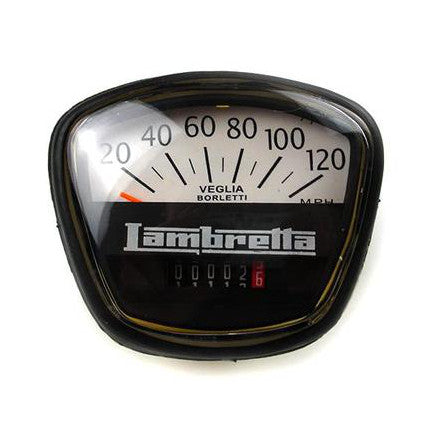 Lambretta Series 3 GP Li SX TV 120 mph Black Speedometer - Italian Fitment