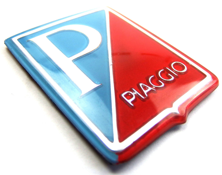 Badge - Horncover - Piaggio Shield - Light Blue/Red/Silver