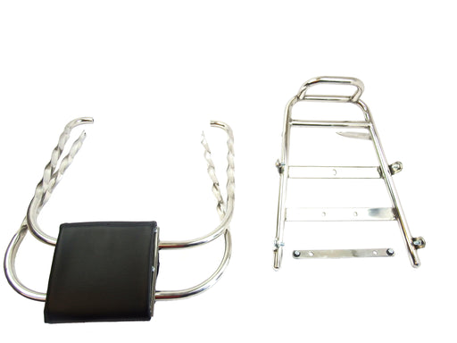 Vespa - Backrest - Flip Over - Twisted - Stainless - PX, PE, T5 Classic