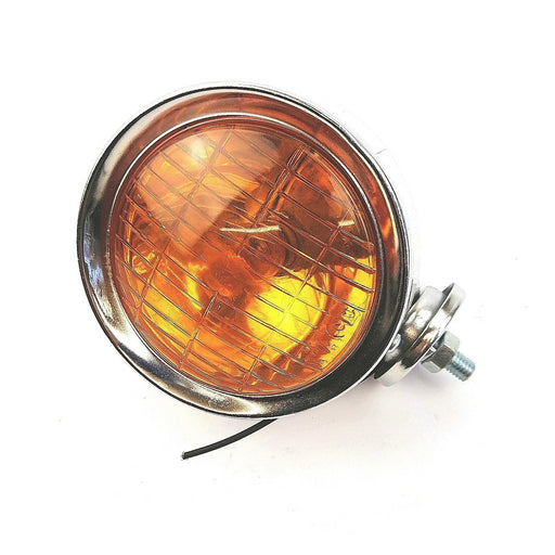 Vespa Lambretta Scooter Chrome Spotlight Spot Light - Orange Amber Lens 95mm