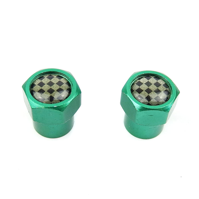 Valve Cap Green Hex with Cheq Insert