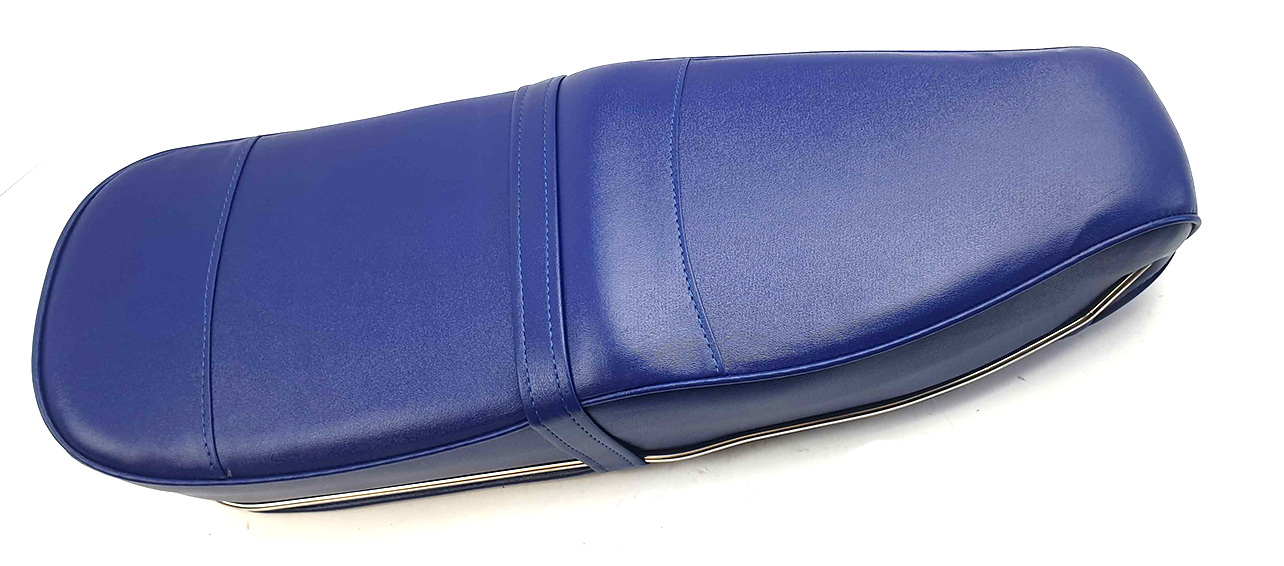 Lambretta Pegasus Style Seat Navy Blue with Stainless Steel Trim