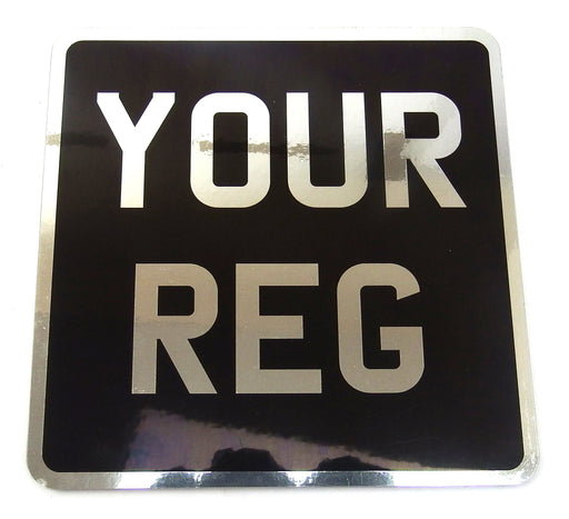 Numberplate - Motorcycle - Black And Chrome - 6.5x6.5