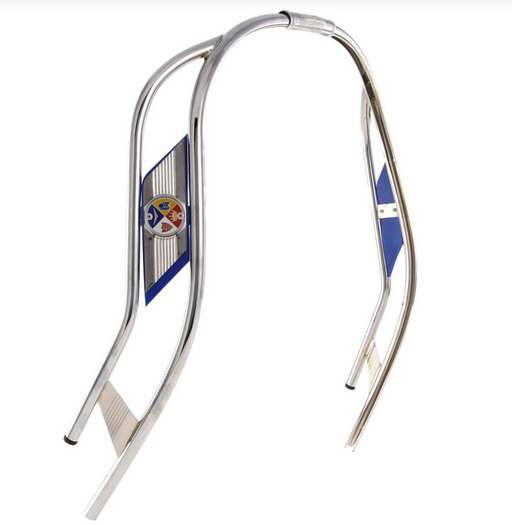 Vespa PX PE T5 Double Bar Chrome Legshield Beading - Blue Flash