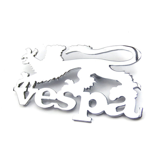 Vespa - Badge - Leg Shield - Vespa And Lion - Chrome
