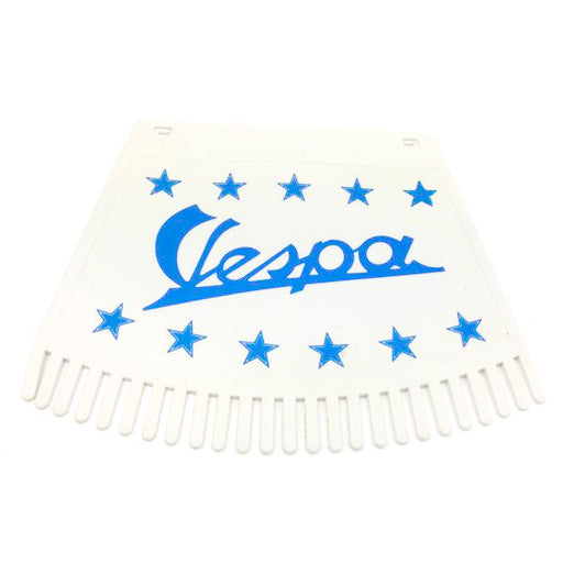 Vespa & Stars Tasseled Type Mudflap Blue On White