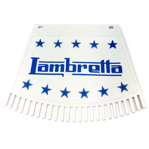 Lambretta & Stars Tasseled Type Mudflap Blue On White