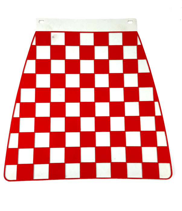 Universal Pressed Chequered Type Mudflap Red & White