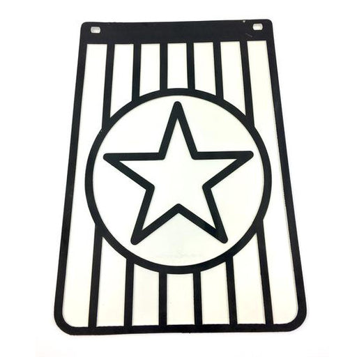 Long Star Black On White Mudflap