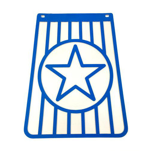 Long Star Blue On White Mudflap