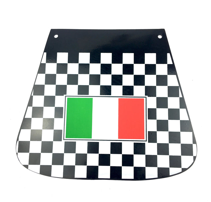 Chequered Mudflap With Italian Flag Flat Type