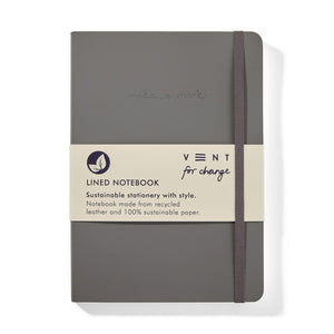 Recycled Leather A5 Notebook – Elephant Grey
