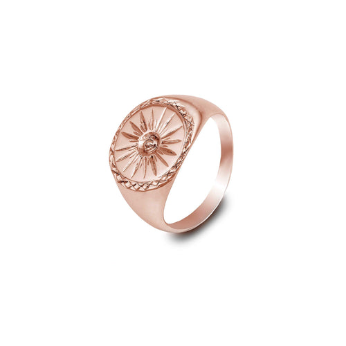 Rose Gold Starburst Signet Ring