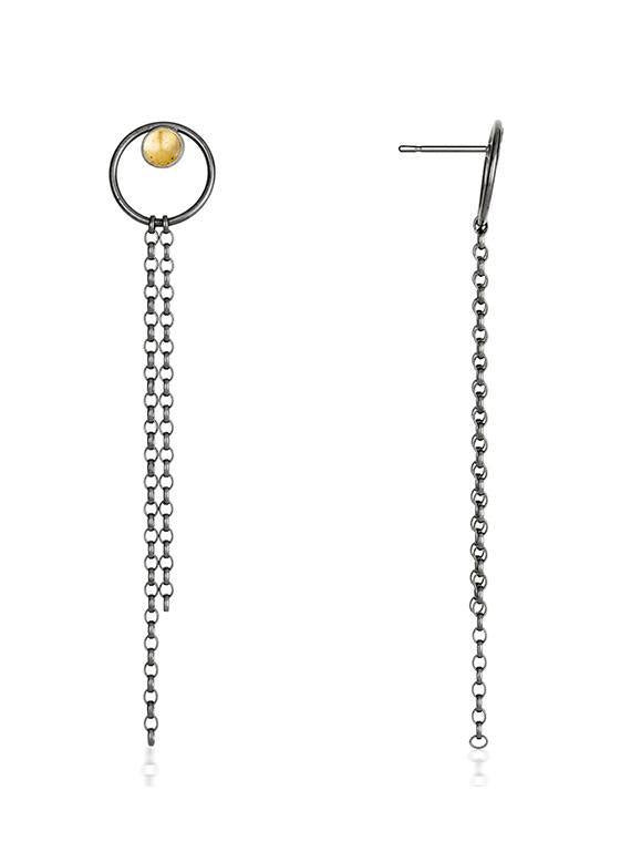 Black & Gold Small Drop Earrings - The Collective Dublin