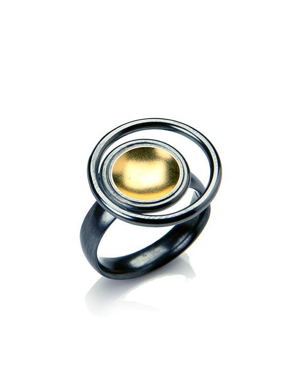 Black & Gold Small Ring