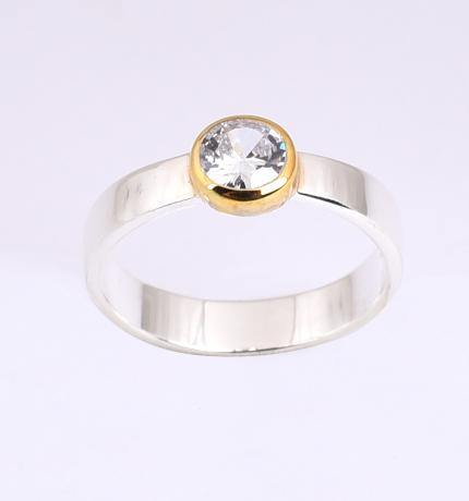 Cubic Zirconia Silver & Gold Ring