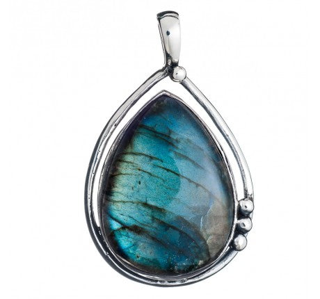 Poppy Pendant in Labradorite - Large